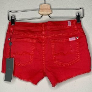 7 for all mankind girls coral red frayed shorts 14